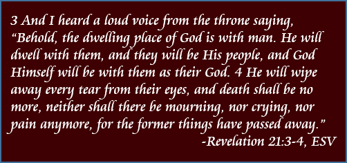 "And I heard a loud voice from the throne saying, ""Behold, the dwelling place of God is with man. He will dwell with them, and they will be His people, and God Himself will be with them as their God. He will wipe away every tear from their eyes, and death shall be no more, neither shall there be mourning, nor crying, nor pain anymore, for the former things have passed away."" - Revelation 21:3-4, ESV"
