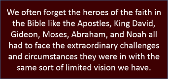 We often forget the heroes of the faith in the Bible like the Apostles, King David, Gideon, Moses, Abraham, and Noah all had to face the extraordinary challenges and circumstances they were in with the same sort of limited vision we have.