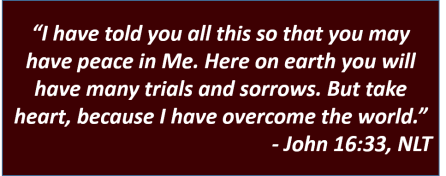 "I have told you all this so that you may have peace in Me. Here on earth you will have many trials and sorrows. But take heart, because ""I have overcome the world."" (John 16:33, NLT)"