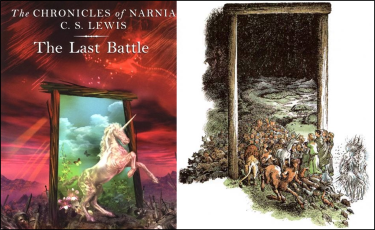 Book cover for The Last Battle and artwork related to the passage from the book.