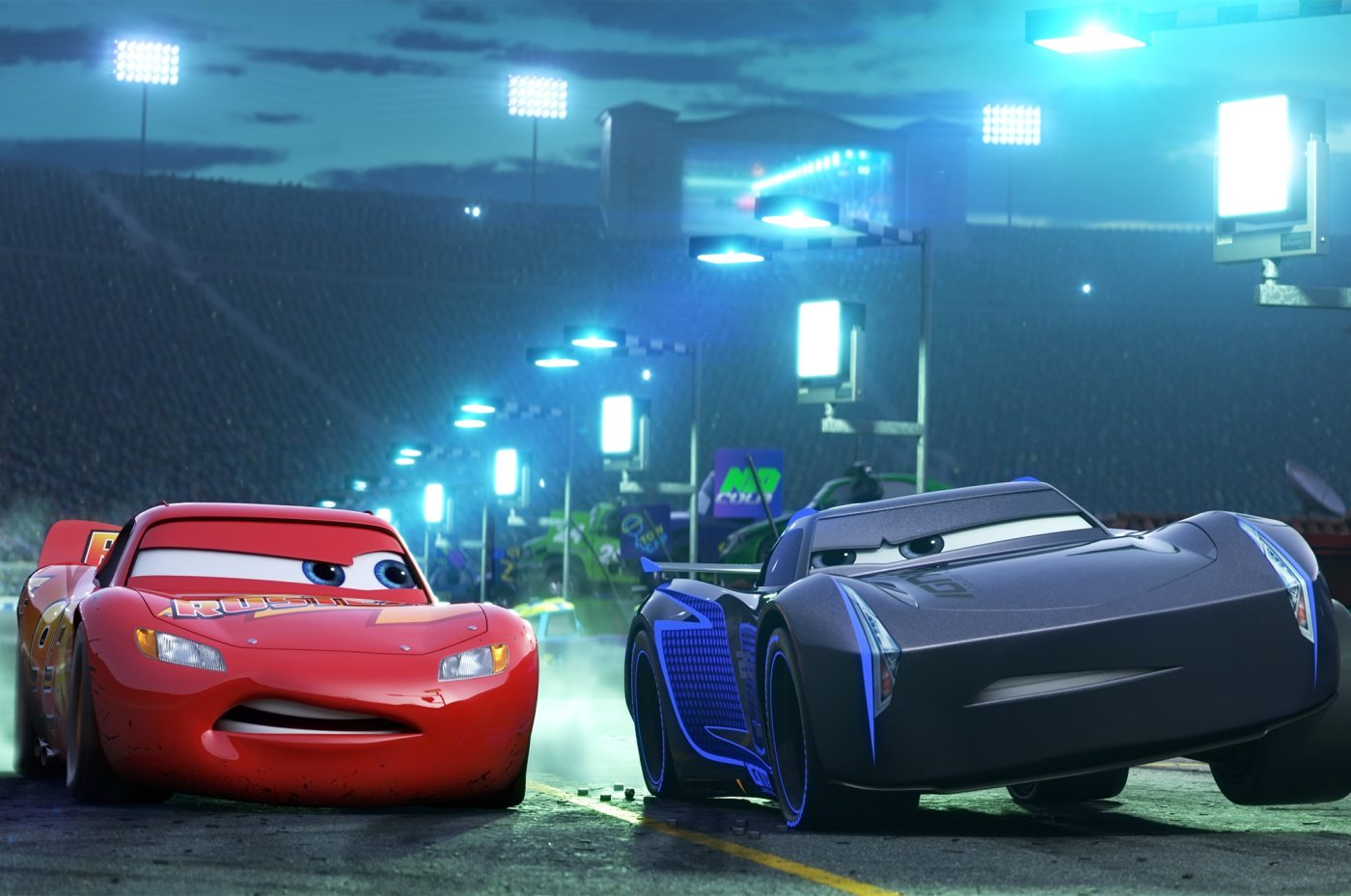 Cars 3 image showing Jackson Storm and Lightning McQueen