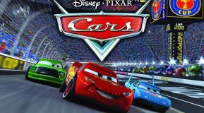 "Cars movie image featuring Lightning McQueen racing ahead of the reigning Piston Cup champ called""The King"""