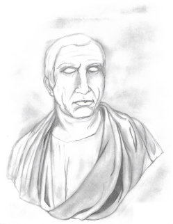 Drawing of sculpture of DQR character, Senator Publicus