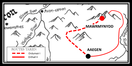 Map of routes taken to Mawrmynydd by Ordumair I and Orthall II