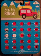 Road Trip Bingo board