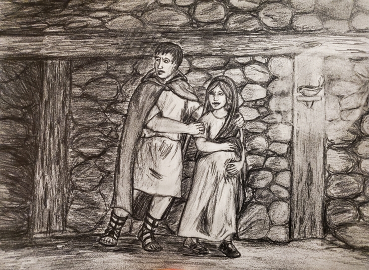 Antonius and Valeria in a dark underground passage
