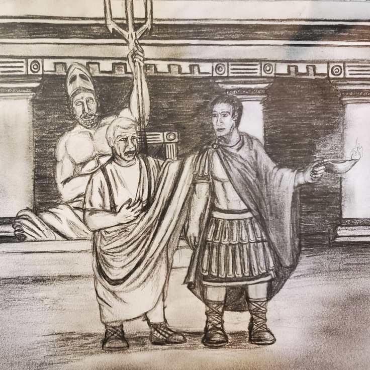 Maximus and Senator Publicus having a conversation in the senator's villa